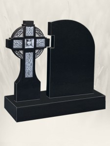 Celtic Link Black Grave Headstone