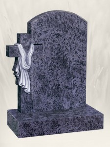Cross & Shroud Blue Lagoon Headstone