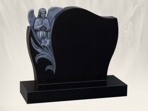 Praying Angel Black Grave Headstone