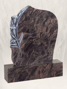 Carved Lilly Antique Finish N.L Headstone