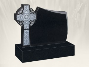 Murphy Cross Antique Finish Black Grave Headstone