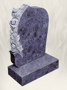 Carved Rose Antique Finish Blue Lagoon Headstone