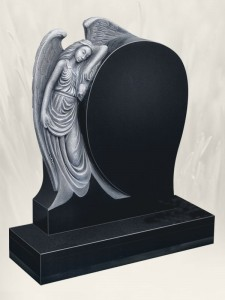 Angel Rose Antique Finish Black Headstone