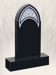 Gothic Flowers Antique Finish Headstone