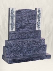 Round Top-Carved Roses Antique Finish Blue Lagoon Headstone