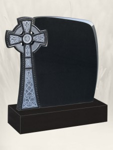 Celtic Breeze Antique Finish Black Headstone