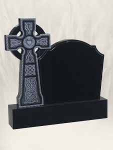 Boyne Celtic Cross Antique Finish Black Headstone