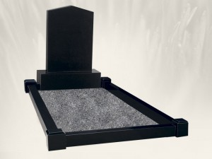 Apex Top Single Plot Black Headstone
