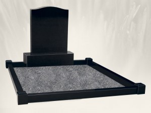 Black O.G Double Plot Black Headstone
