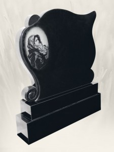 D.P Scroll Black Headstone