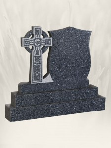 Crest Cross Blue Pearl Headstone