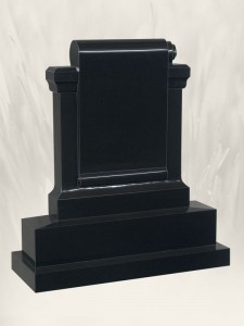 Scrolled Out Scroll Black Headstone