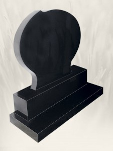 Rugby Ball Black Headstone