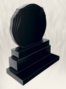 Double Flame Black Headstone
