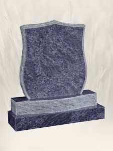 Shield Pitched Finish Blue Lagoon Headstone