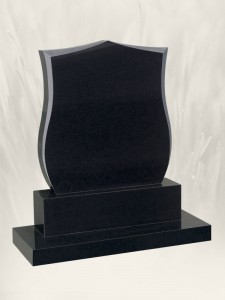 Shield Polished Finish Black Headstone