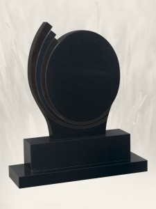 Oval Steps Polished Finish Black Headstone