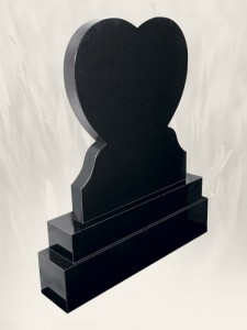 Heart Black Headstone